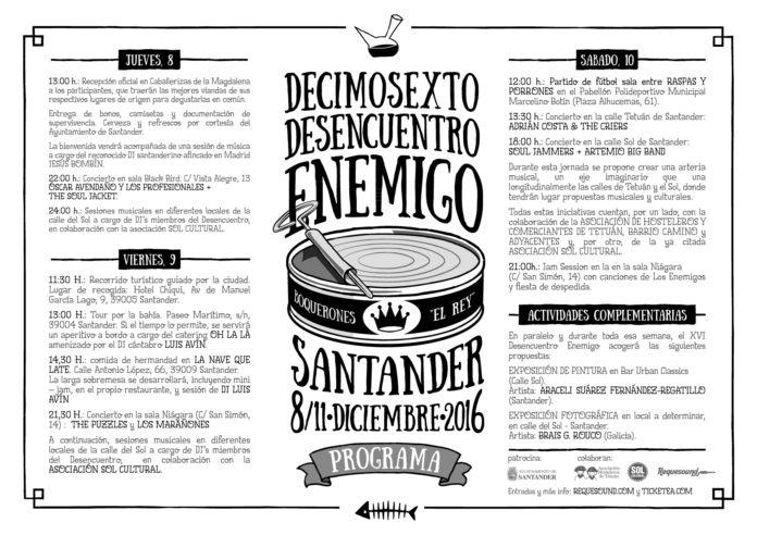 Programa XVI Desencuentro Enemigo - Santander 2016